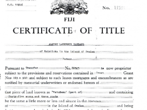 Example of what a Title would look like in Fiji if the land is a Freehold Land.